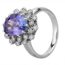 Second Hand 14ct White Gold 3.80ct Tanzanite and 0.38ct Diamond Cluster Ring GMC(67/2/1)