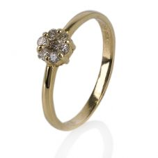 Second Hand 14ct Yellow Gold Seven Stone Diamond Cluster Ring 4332166