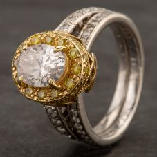 Second Hand 14ct Two Colour Gold Oval Diamond Cluster Ring 4332186