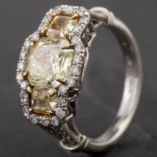 Second Hand Platinum Yellow Diamond Three Stone Diamond Cluster with Open Shoulders 2.01ct Ring 4332217