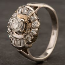 Second Hand 14ct White Gold Baguette Cut Diamond Cluster Ring 4332227