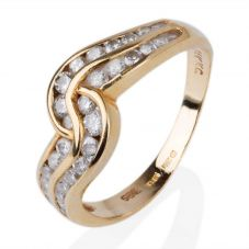 Second Hand 14ct Yellow Gold Two Row Diamond Twist Ring
