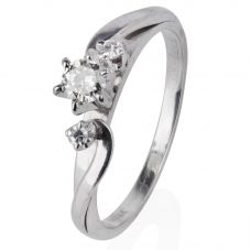 Second Hand 9ct White Gold Three Stone Diamond Twist Ring