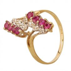 Second Hand 14ct Yellow Gold Ruby and Diamond Cluster Twist Ring GMC(72/3/10)