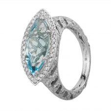 Second Hand 18ct White Gold Marquise Cut Topaz and Diamond Cluster Ring GMC(72/9/8)