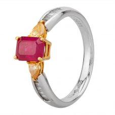 Second Hand Platinum and Gold Three Stone Diamond Ruby Ring 4332305