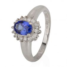 Second Hand Platinum Tanzanite and Diamond Cluster Ring