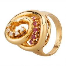 Second Hand 9ct Yellow Gold Ruby and Diamond Swirl Cluster Ring GMC(75/1/3)