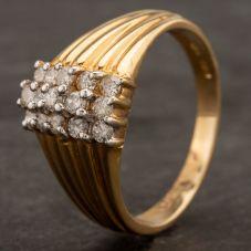 Second Hand 14ct Yellow Gold Three Row Diamond Cluster Ring 4332387