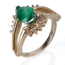 Second Hand 14ct Yellow Gold Pear Cut Emerald And Diamond Ring