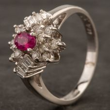 Second Hand 14ct White Gold Diamond Ruby Cluster Ring 4332432