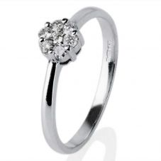 Second Hand 14ct White Gold 7 Stone Diamond Cluster Ring 4332437