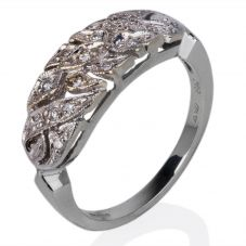 Second Hand 18ct White Gold Diamond Bark Ring