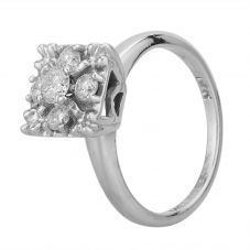 Second Hand White Gold Diamond Square Cluster Ring 4332508
