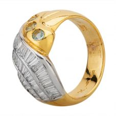 Second Hand 18ct Two Colour Gold 2.00ct Diamond and Topaz Three Row Swirl Ring MG(693)