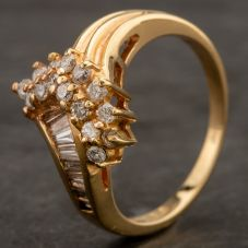 Second Hand Yellow Gold Baguette Cut Diamond Ring 4332532