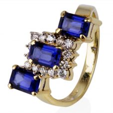 Second Hand 14ct Yellow Gold Iolite and Diamond Cluster Ring