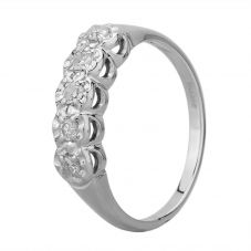 Second Hand 9ct White Gold Diamond Five Stone Ring