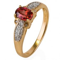 Second Hand 14ct Yellow Gold Pink Topaz and Diamond Ring