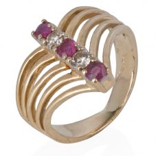 Second Hand 14ct Yellow Gold Ruby and Diamond Wishbone Ring