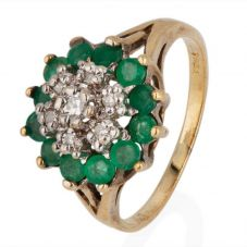 Second Hand 9ct Yellow Gold Emerald and Diamond Cluster Ring 4332683