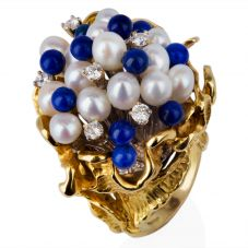Second Hand 18ct Yellow Gold Pearl Lapis Lazuli and Diamond Cluster Ring 4332703