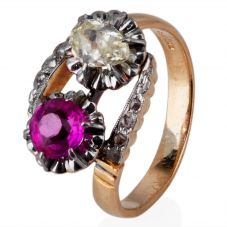 Second Hand Synthetic Ruby and Diamond Crossover Ring