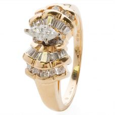 Second Hand 14ct Yellow Gold Marquise Diamond  Ring