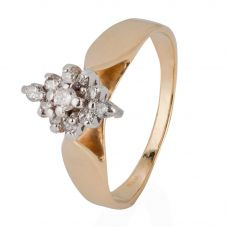 Second Hand 14ct Yellow Gold Marquise Shaped Diamond Cluster Ring