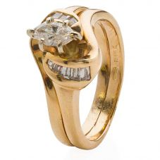 Second Hand 14ct Yellow Gold Marquise Diamond Solitaire Ring 4332828