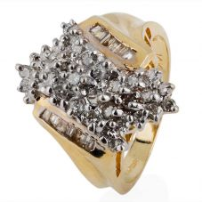 Second Hand 14ct Yellow Gold Multi Diamond Cluster Ring 4332856