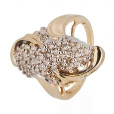 Second Hand 14ct Yellow Gold Diamond Cluster Ring 4332868
