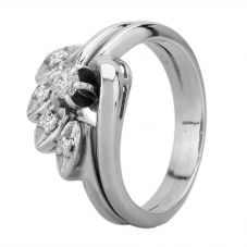 Second Hand 9ct White Gold Diamond Spray Cluster Ring