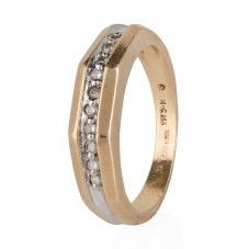 Second Hand 14ct Two Colour Gold Diamond Half Eternity Ring
