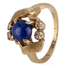 Second Hand 9ct Yellow Gold Star Sapphire and Diamond Ring