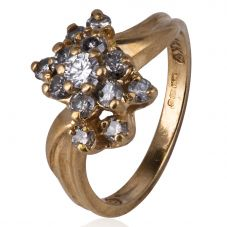 Second Hand 14ct Yellow Gold Diamond Cluster Ring