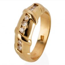 Second Hand 14ct Yellow Gold Diamond Set Bamboo Effect Half Eternity Ring