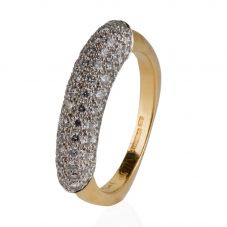 Second Hand 18ct Yellow Gold Diamond Set Multi Row Ring