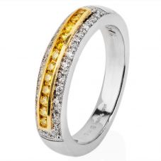 Second Hand Platinum Yellow and White Diamond Three Row Ring