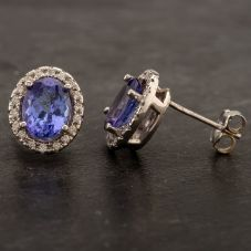 Second Hand 14ct White Gold 3.03ct Tanzanite & 0.27ct Diamond Stud Earrings