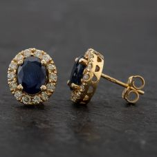 Second Hand 14ct Yellow Gold Diamond and Sapphire Oval Cluster Stud Earrings 4333070