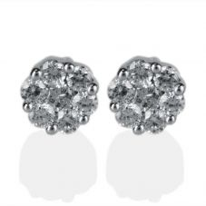 Second Hand 18ct White Gold Diamond Cluster Stud Earrings 4333150