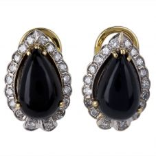 Second Hand 14ct Yellow Gold Onyx and Diamond Clip On Earrings