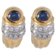 Second Hand 18ct Yellow Gold Sapphire and Diamond Leverback Stud Earrings 4333223