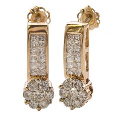 Second Hand 14ct Yellow Gold Diamond Cluster Dropper Earrings 4333225