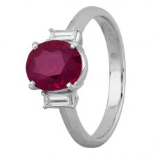 Second Hand Platinum 2.00ct Ruby and Diamond Shoulders Ring