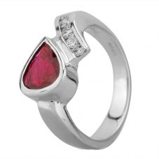 Second Hand Platinum 0.60ct Pear Shaped Ruby and 0.25ct Diamond Offset Ring