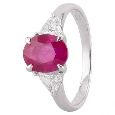 Second Hand Platinum 2.28ct Ruby and Diamond Shoulders Ring