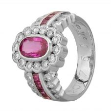 Second Hand Platinum 1.50ct Ruby and 0.75ct Diamond Flower Cluster Ring