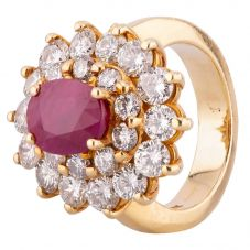 Second Hand 18ct Yellow Gold 3.00ct Ruby and Diamond Cluster Ring